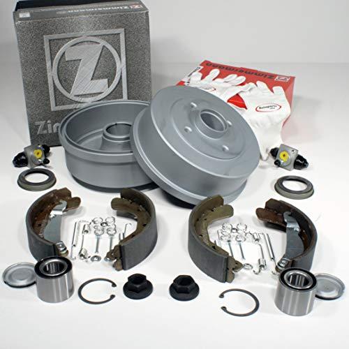 Autoparts-Online Set 60015437 Zimmermann Bremstrommeln ABS-Sensorringe Bremsbacken Zubehör Radbremszylinder Radlager für hinten die Hinterachse