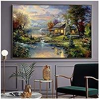 トーマスキンケード油絵キャンバス自然ポスターとプリント壁アートレプリカ写真リビングルーム農家風景家の装飾