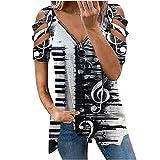 DESKABLY Off The Shoulder Tops for Women V Neck Low Cut Zipper Print Cold Shoulder Tops Short Sleeved T-Shirt Top White