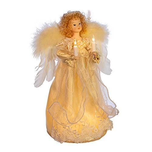 10 Bulb Light Up Angel Christmas Treetop Figurine with Fabric Hair 12 Inch Ivory