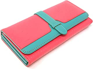 yueton Women's Change Purse Large Capacity Long Purse Alligator Pattern PU Leather Clasp Wallet Belt Type Pocket Card Holder Pink