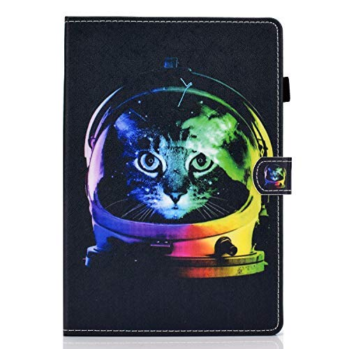 Shinyzone - Funda para tablet Amazon Fire HD 10 2017/2015 con soporte para bolígrafo, piel sintética, función atril, soporte para teléfono móvil, diseño de gato astronauta