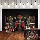 Avezano Christmas Photography Backdrop 7x5ft Brick Fireplace Windows Toys Red Sock Gifts Background for Photo Studio Christmas Tree Newborn Portrait Photography Background