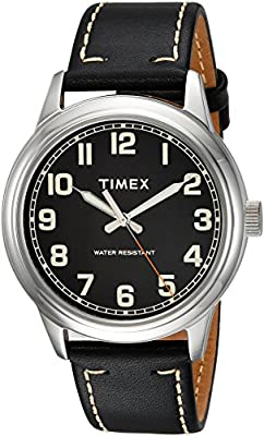 Timex Men's TW2R22800 New England Black/Silver Leather Strap Watch by Timex
