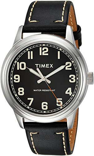 Timex Men's TW2R22800 New England Black/Silver Leather Strap Watch