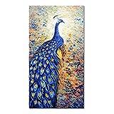 LXWWW Arte de Pared Impresión de póster en Lienzo Pavo Real Azul Imagen de Animal Pintura de decoración de Sala de Estar Moderna (70x140cm / 27.6 × 55.1 Pulgadas) Sin Marco