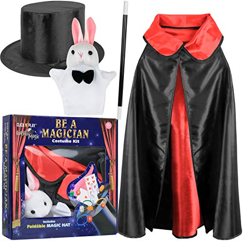 Click N' Play Magician Pretend Play Dress Up Set with Accessories, Hat & Rabbit Magic Tricks