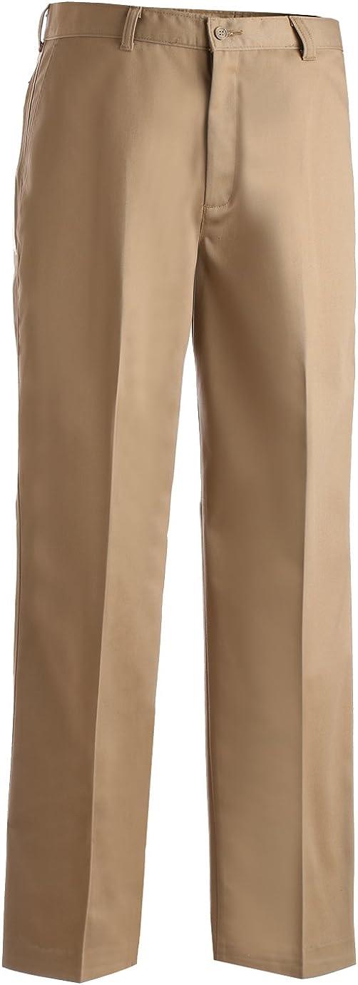 Edwards Garment Men's Casual Chino Flat Front Dress Pant, TAN, 38 31