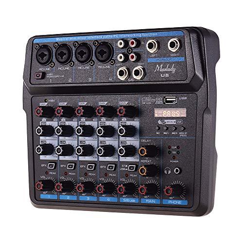 Muslady U6 - Mesa de mezclas (6 canales, Bluetooth, USB, con tarjeta de sonido, alimentación fantasma integrada de 48 V, enchufe europeo)