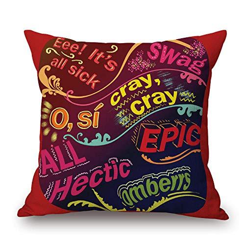 Almohada cuadrada Literatura y arte europeas y americanas graffiti de moda letras inglesas funda de almohada de algodón y lino sofá hogar sala de estar oficina almohada core-45X45cm_W-45 84138