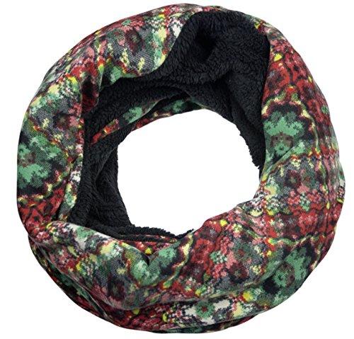Sunsa Damen Winter Loop Schal Warmer weichem Fleece Schlauchschal Rundschal Teddyfutter (schwarz)