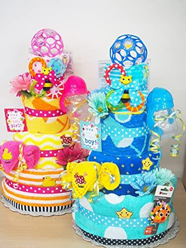 出産祝いギフト!サッシースペシャルのおむつケーキ!ブランドサッシーの実用的なベビーグッズが盛りだくさん♪ (ブルー, Lサイズ[9-15カ月])