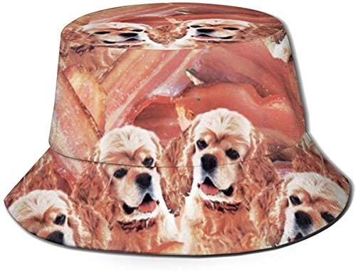 Sombreros de Cubo Transpirables con Parte Superior Plana Unisex Sombrero de Cubo de día lluvioso de la Ciudad de París Francesa Sombrero de Pescador de Verano-Carne de Tocino para Perros-Talla única