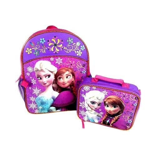Disney Frozen Backpack with Matching Lunchbox Set Featuring Anna and Elsa