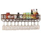 Botellero de Montaje en Pared | Estante para Botellas de Vino | Tienda de Almacenamiento de Vino Tinto, Champagne, Bebida | Decoración para hogar y Cocina-Home M+ / Bronce / 60x25cm