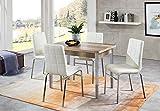 furnTastic Linda/Hermes Tischgruppe, 5-teilig, Lederoptik, Monument Oak/Weiß, One Size