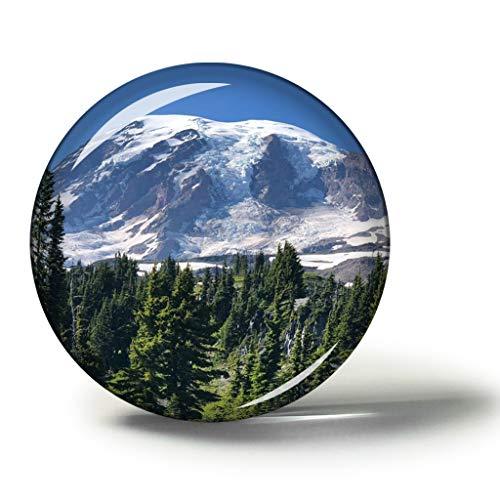 Hqiyaols Souvenir Amerika USA Mount Rainier National Park Ashford Magnete Kühlschrankmagnete Andenken Sammlerstücke Reise Geschenk Kreis Kristall 1.9 inches