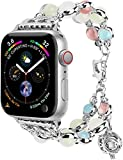 Fashion Band Compitable with Apple Watch 38/40mm 42/44mm iWatch Series 5 4 3 2 1, Adjustable Night Luminous Pearl Bracelet w/Essential Oil/Perfume Storage for Women/Girl (Silver, 42mm/44mm-S)