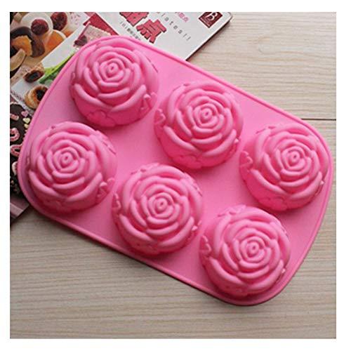 BestOfferBuy - Stampo Forno in Silicone a 6 Rose per Torte e Muffin e/o Vaschetta Ghiaccio