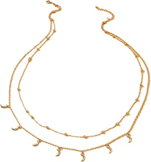 SOWUNO Waist Chain Layered Metal Fashion Adjustable All-Match Thin Moon Waist Jewelry Women Ladies Girls Teens