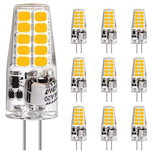 LEDGLE G4 LED Lampen, 3.5W 20LEDs Birnen erset 35W Halogenlampen, AC/DC 12V Leuchtmittel, Warmweiß 2700K, 350LM Kein Flackern, Stiftsockellampe Glühbirnen, Nicht Dimmbar, 10er Pack