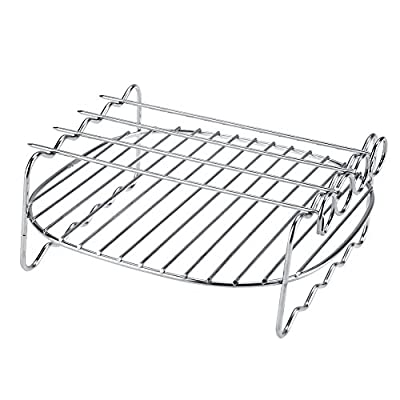 Rack For Grill Smoker Air Fryer Cooking Accessories Stainless Steel Double Fryer Layer with Skewers Baking Shelf Grill BBQ Rack