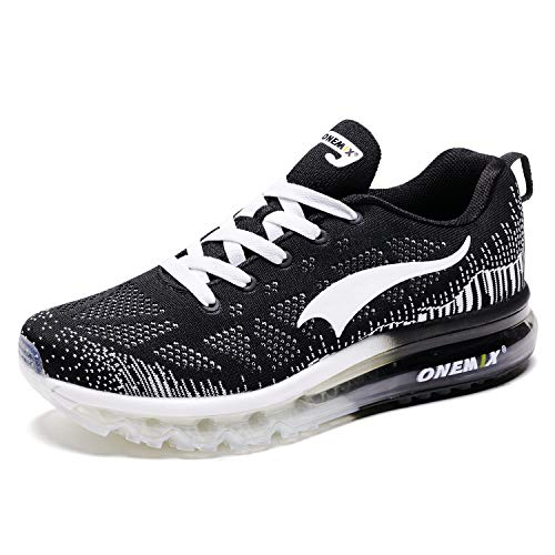 ONEMIX Laufschuhe Herren Sportschuhe Luftkissen Sneaker Straßenlaufschuhe Fitness Turnschuhe im Freien 1118 Black White 43