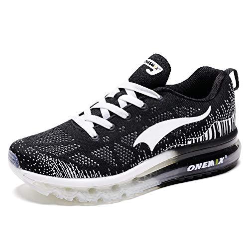 ONEMIX Hombres Zapatillas Deporte Running Aire Libre Respirable Zapatos para Correr Gimnasio Sneakers 1118 Negro/Blanco 39EU