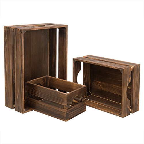 MyGift Nesting Rustic Brown Wood Storage & Accent Crates, Set of 3