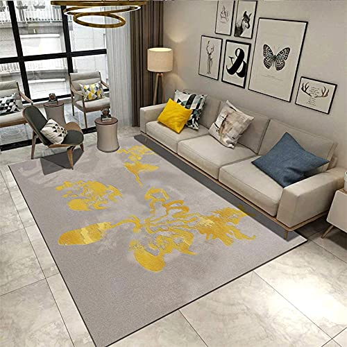 Alfombra Sofa niños Infantil alfombras Alfombra de sofá de Sala de Estar de diseño Simple de Tinta Abstracta marrón Amarillo alfombras salón alfombras Decoraciones para Habitaciones 100*160cm