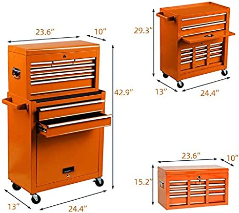 8-Drawer Rolling Tool Chest High Capacity Tool box and Tool Storage Cabinet,Tool Chest with 4 Wheels Removable Portable Box with Lock for Garage and Warehouse BLACK TOOL CHEST
