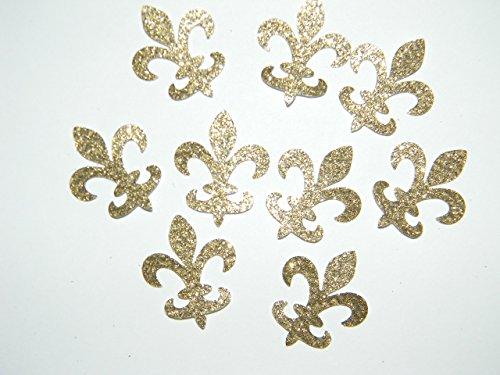 100 gold glitter fleur de lis die cuts confetti party decorations