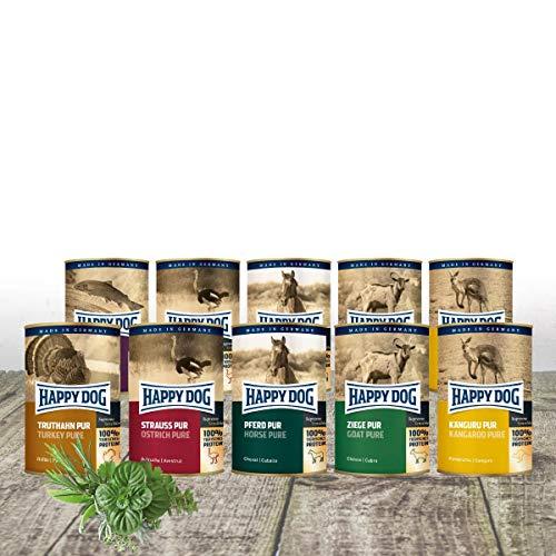 Happy Dog- Gourmet Dosen pur 12 x 400 g Mischtray mit 4 Dosen Truthahn und je 2 x Strauß, Ziege, Känguru & Pferd