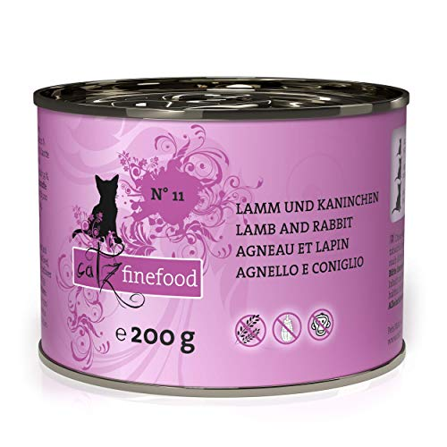 catz finefood N° 11 Lamm & Kaninchen Feinkost Katzenfutter nass, verfeinert mit Cranberries & Karotte, 6 x 200g Dosen