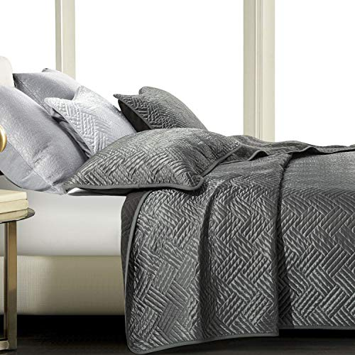NTBAY Satin Quilt Coverlet Bed Set, 3 Piece Geometric Pattern Quilted Bedspread, King, Grey