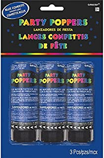 "Amscan 395882.01, Confetti Poppers, Party Supplies, Blue, 4"" 3ct, 4"""