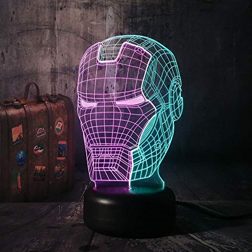 3D masker nachtlampje LED 7 kleuren variabel touchable schakelaar slaapkamer decoratie licht baby verjaardag kerstcadeau