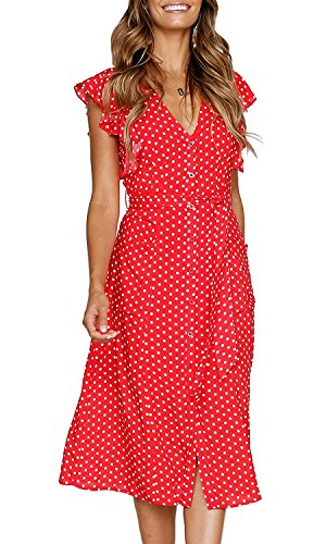 MITILLY Women's Summer Boho Polka Dot Sleeveless V Neck Swing Midi Dress with Pockets Medium Red