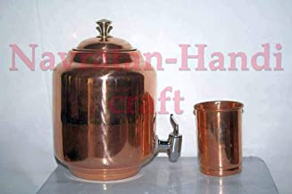 Navratan-Handicraft 100% Pure Copper Ayurveda Health Benefit Solid 4.5 LTR Pot Water Dispenser Tank Storage Drinkware Unique Container Flask with Matching Serving Glass