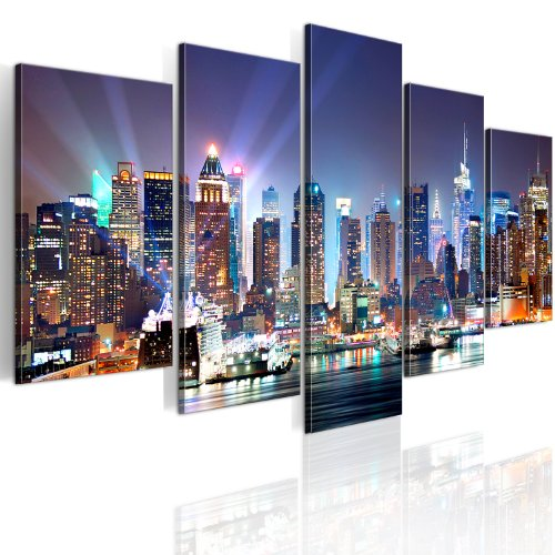 B&D XXL murando Impression sur Toile intissee 200x100 cm 5 Parties Tableau Tableaux Decoration Murale Photo Image Artistique Photographie Graphique New York Paysages 9020099