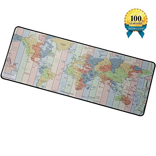 IAUGO Large Gaming Mouse Pad,Computer Extended Mouse Mat,Non-slip Rubber Base,Anti-Fray Cloth (Time zone map)