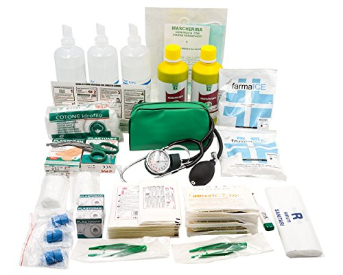 KIT REINTEGRO pacchetto medicazione ricambio per cassetta medica di pronto soccorso con MISURATORE DI PRESSIONE e CARTELLO per aziende con 3 o più lavoratori
