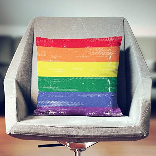 Lplpol Funda de almohada, almohada de orgullo gay, bandera del orgullo gay, Lgbt Pride, almohada arco iris, decoración arco iris, bandera arco iris, orgullo arcoíris, fundas de almohada decorativas para sofá cama, 22 x 22 pulgadas