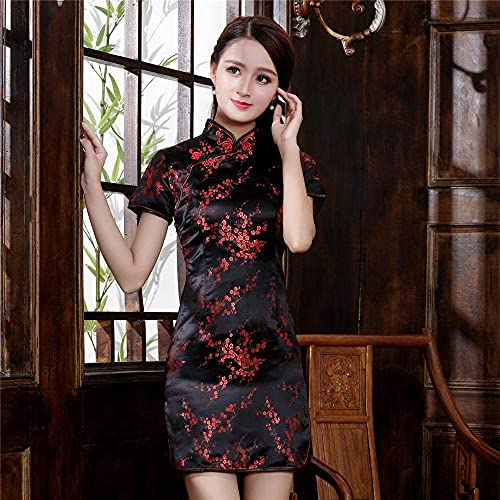 CIDCIJN Vestito Cinese Cinese Qipao Cheongsam Donne Satin Vintage Asiatico Sposa Abito da Sposa Abito da Sera Abito da Festa, Fiore Nero, M