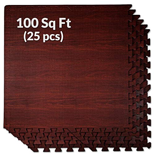 100 Sq. Ft 3/8 Inch Thick Interlocking Foam Mats Flooring, Dark Wood Oak Grain Style - (24