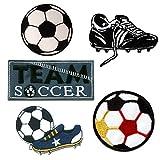 Fútbol Set 5 Piezas - Parches termoadhesivos bordados aplique para ropa