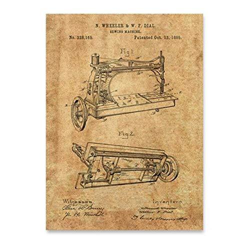 YangMENGDAN druk op canvas naaimachine patent vintage print handwerk kamer muurkunst poster decoratie, antieke naaimachine canvas schilderij wanddecoratie 60x90cmx1pcsKein Rahmen 3