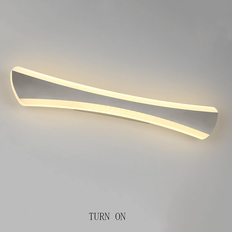 LJHA jingqiandeng Edelstahl LED Wasserdichte Nebel Spiegel Frontleuchte Moderne Einfache Toiletten Bad Make-Up Wandleuchte Bad Wandleuchten ( Farbe   Warmes Licht-42cm-14W )