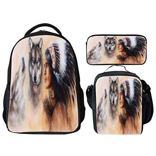 Native American Blur Young School Backpack Set Bookbags 14' Laptop Backpack Kids Lunch Bag