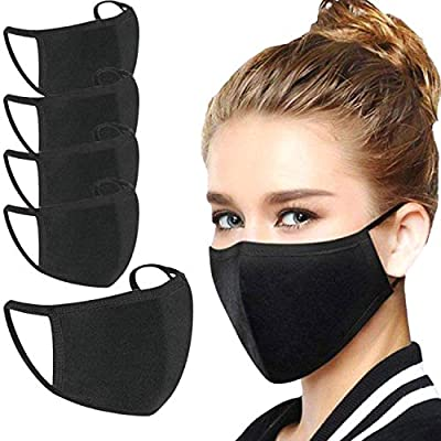 5 PACK Cotton Black Face Cover Mask Reusable Washable Face Mouth Cover from Tanness